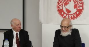 Takis Fotopoulos and Arthur Scargill in the public meeting of SLP